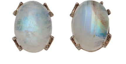 Crescent post earrings with oval moonstone