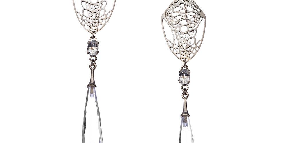 Folded Wing earrings with quartz briolette