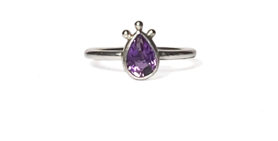 Tulip Ring, amethyst and sterling silver