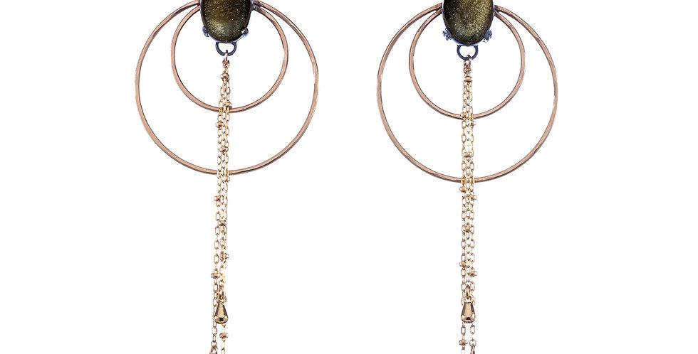 Luna Nouveau earrings in 14k gold fill with golden obsidian cabochon