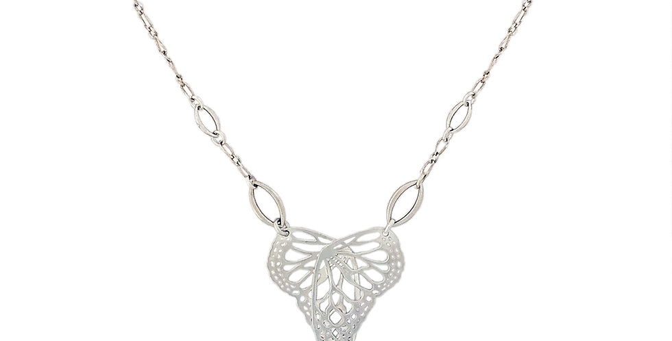 Flutter sterling silver necklace with marquise charms