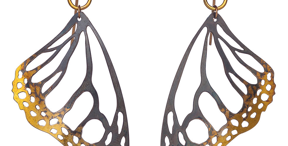 Monarch earrings in oxidized sterling silver and 24k gold