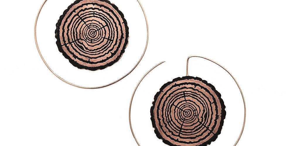 Redwood Slice Hoop with 14k  rose-gold fill