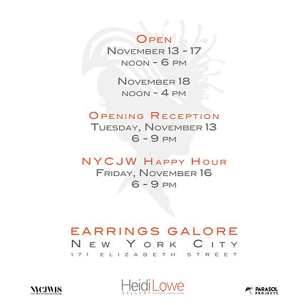 Camille Torres Designs Earrings Galore Heidi Lowe Gallery at the Parasol Project New York City Jewelry Week NYCJW18 opening reception