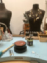 Custom jewelry available. One view of the jeweler's bench in studio for Camille Torres Designs.