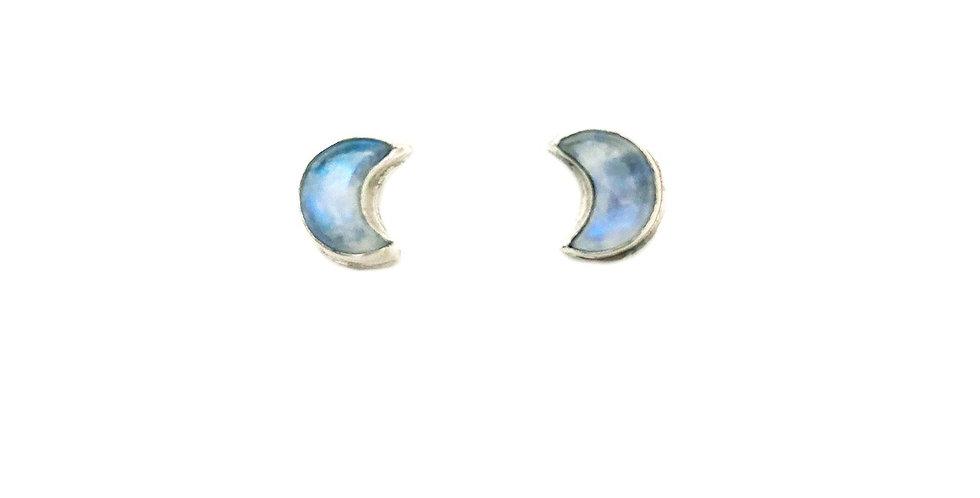 Moonshine moonstone crescent post earrings