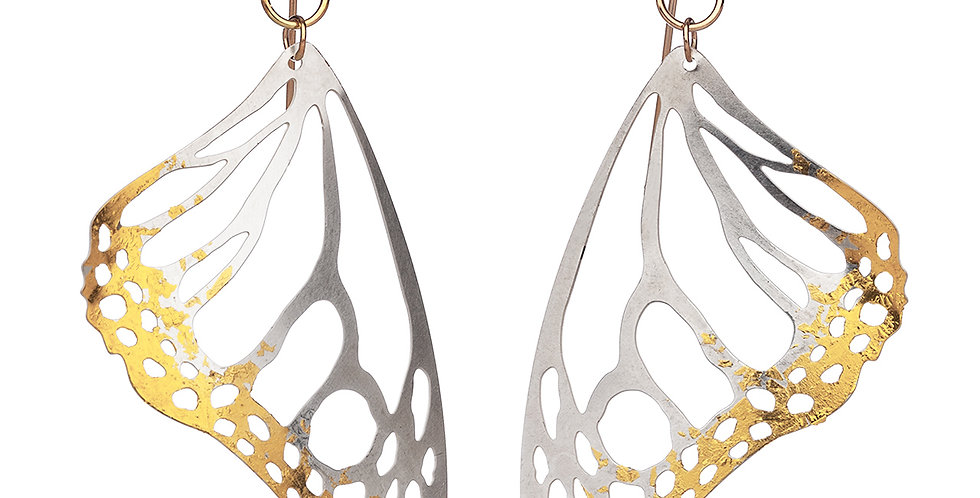 Monarch earrings in raw sterling silver and 24k gold