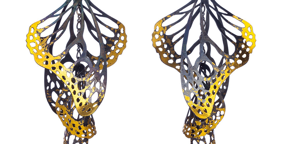 Overwinter earrings in sterling silver and 24k gold