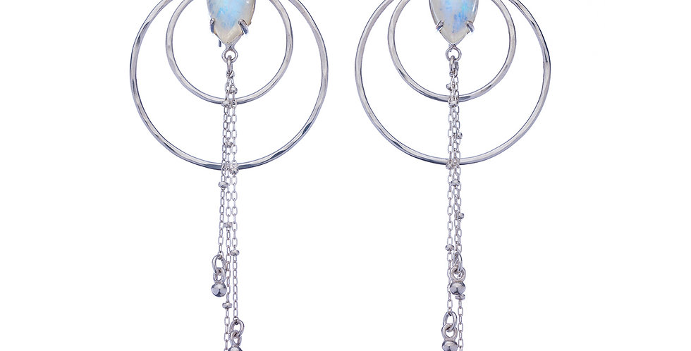 Luna Nouveau sterling silver earrings with moonstone