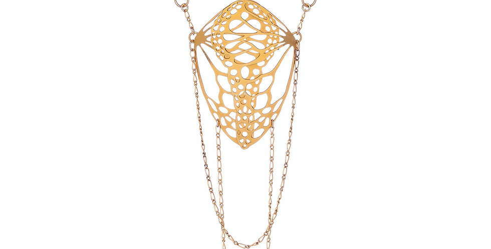 Diaphanous necklace in gold plate