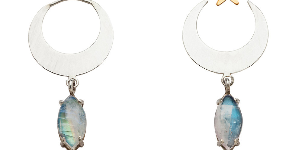Blue Moon earring jackets with moonstone