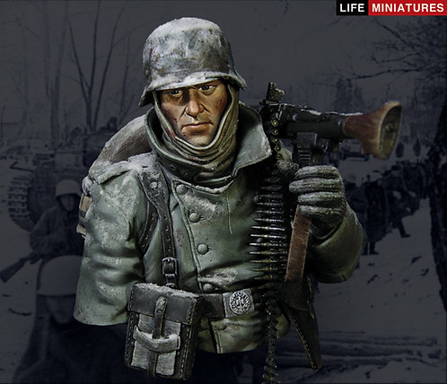 """Confronted with """"General Winter"""" WW2 German MG34 Gunner, Outskirts of Moscow"""