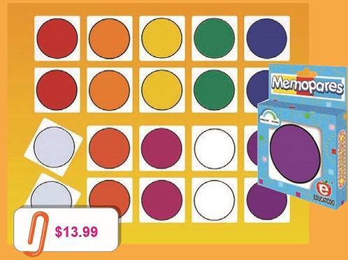 Memory Matching Game Colors; Memopares Colores