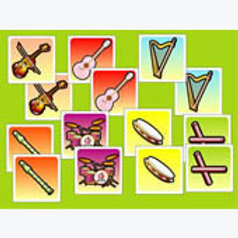 Memory Matching Game Musical Instruments; Memopares Instrumentos Musicales