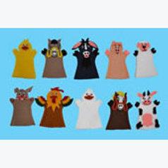Set of 10 Finger Puppets Farm Animals: Juego de 10 Títeres Digitales Animales De
