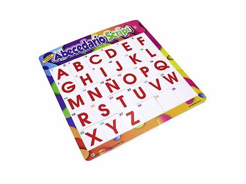 Tablero Abecedario Script; Table top board game Span Alphabet