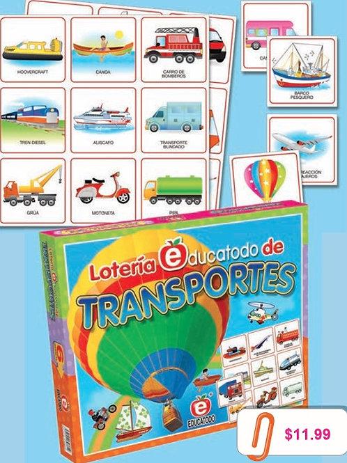 Transportation Bingo Game: Lotería Medios de Transporte