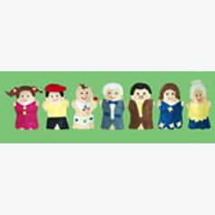 Set 7 Puppets The Family: Juego de 7 Guiñoles La Familia