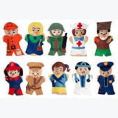 Set of 10 Puppets Community Workers: Juegos de 10 Guiñoles Servidores Públicos
