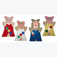 Set of 4 Puppets The 3 Little Pigs: Juego de 4 Guiñoles Los 3 Cochinitos