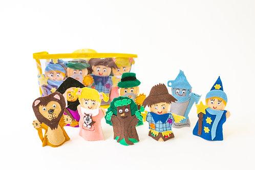 Set of 8 Finger Puppets Wizard Of Oz: Juego de 8 Títeres Digitales El Mago de Oz