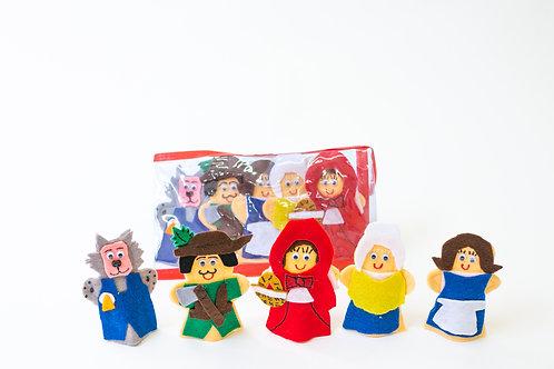 Set of 5 Finger Puppets Red Riding Hood: Juego de 5 Títeres Digitales Caperucita