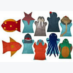 Set of 10 Puppets Sea Animals: Juego de 10 Guiñoles Animales del Mar