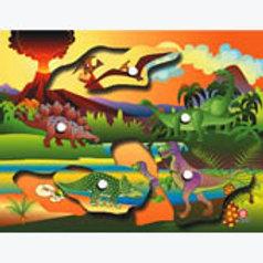 Puzzle with Peg Dinosaurs: Resaque con Perilla Dinosaurios