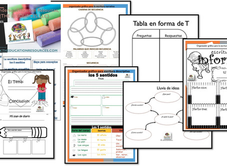 SPANISH GRAPHIC ORGANIZERS NOW AVAILABLE INDIVIDUALLY; DOWNLOADABLE FOR $1.99 EA!