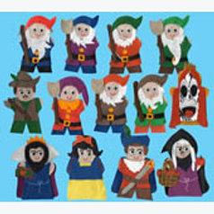 Set of 13 Puppets Snow White: Juego de 13 Guiñoles Blanca Nieves