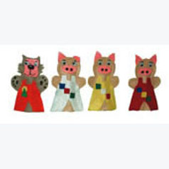 Set of 4 Finger Puppets The 3 Little Pigs: Juego de 4 Títeres Digitales Los 3 Co