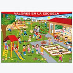 Poster - Values At School Ready To Hang: P1ster Valores en la Escuela Con Bastón