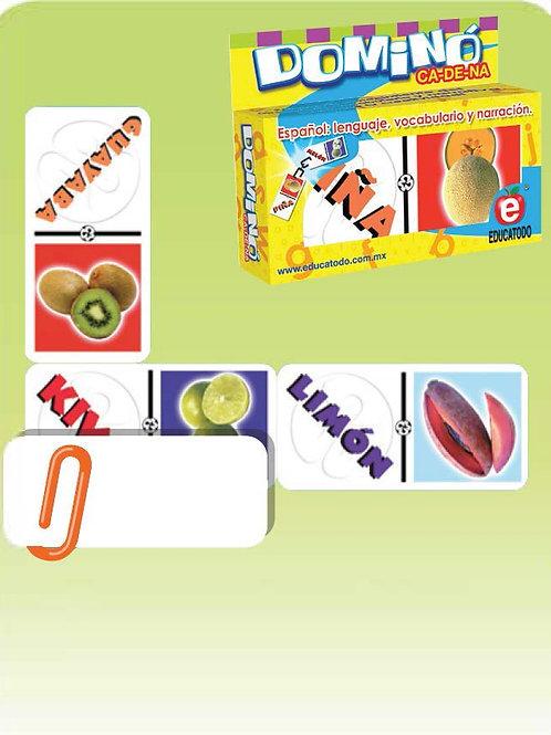 Fruit Words Large Dominoes Game: Dominó Texto Frutas Grande