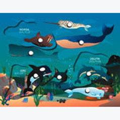 Puzzle with Peg Sea Animals: Resaque con Perilla Animales del Mar