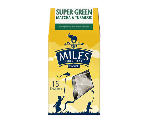 Miles Super Green Matcha & Turmeric (15 Tea Kites)