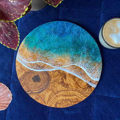 LightWater Studio Olive Wood & Resin Charcuterie Board - Round