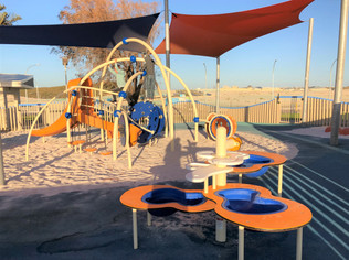 Dynamic Playgrounds Install. Evos with slide. Splash Circuit Water Table. Perth Northern Suburbs Playground Supplier.
