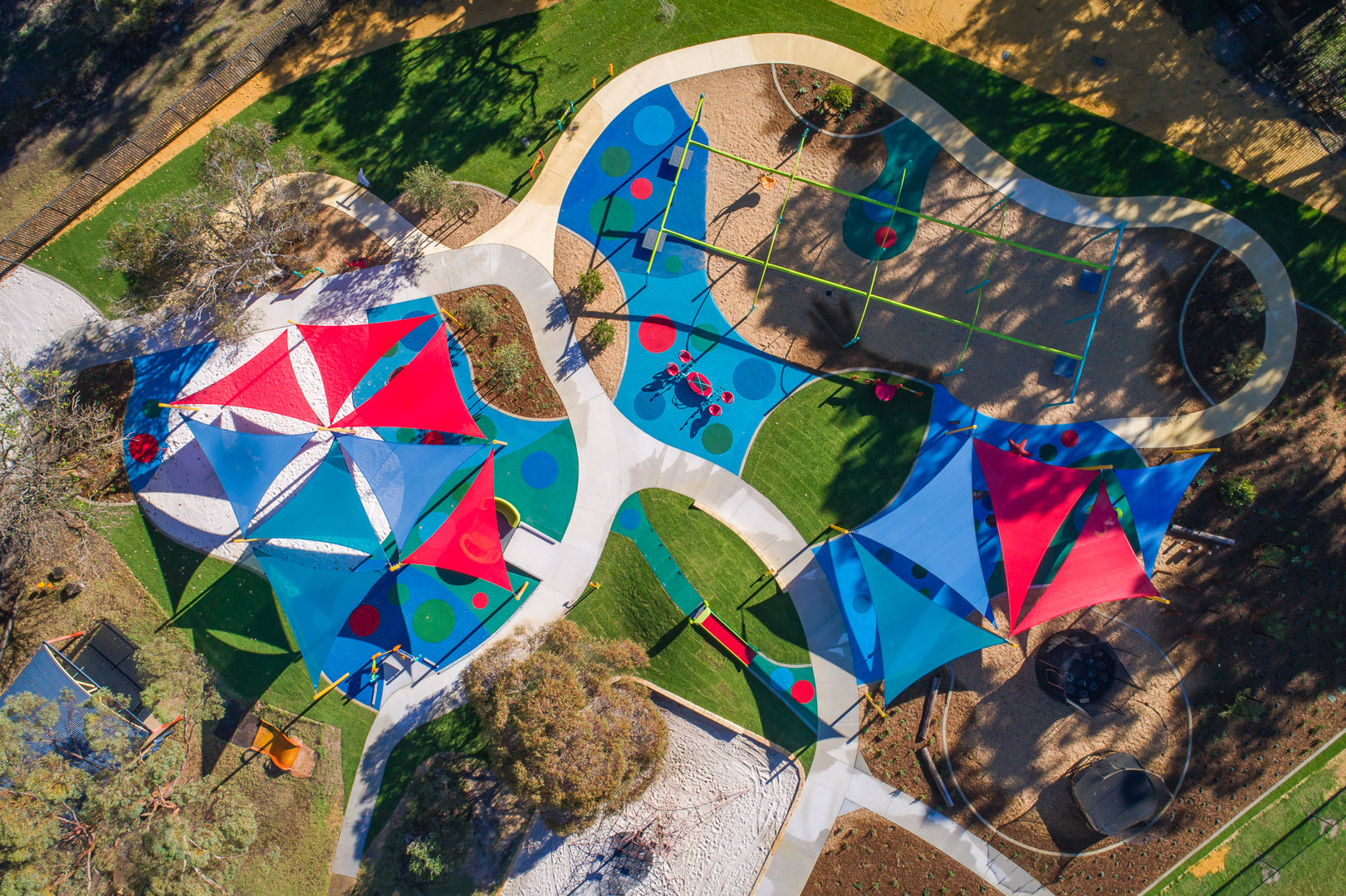 Kenwick School overhead image. Inclusive and Accessible playground design.