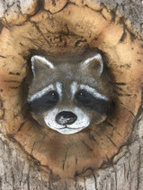 Nature Inspired Play. Playground Supplier Western Australia. Racoon hand carved.