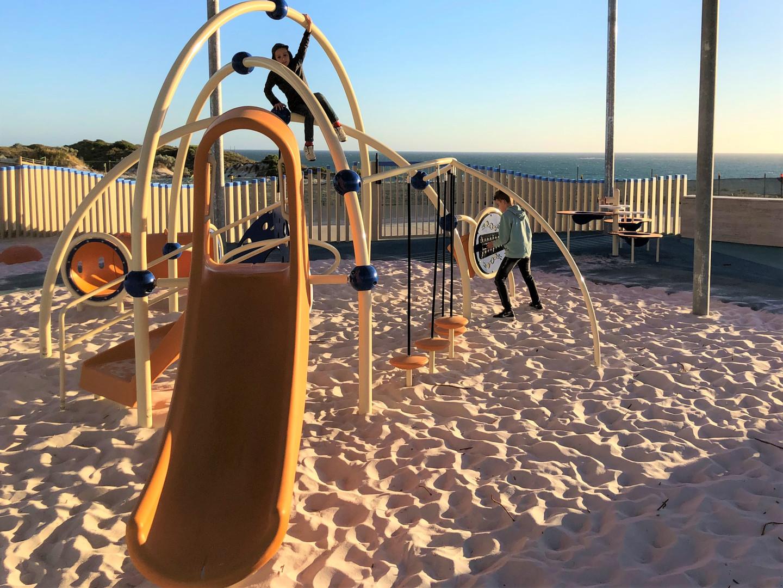 Evos with Slide and instruments. Eglinton Beach. Western Australia. Playground Supplier.