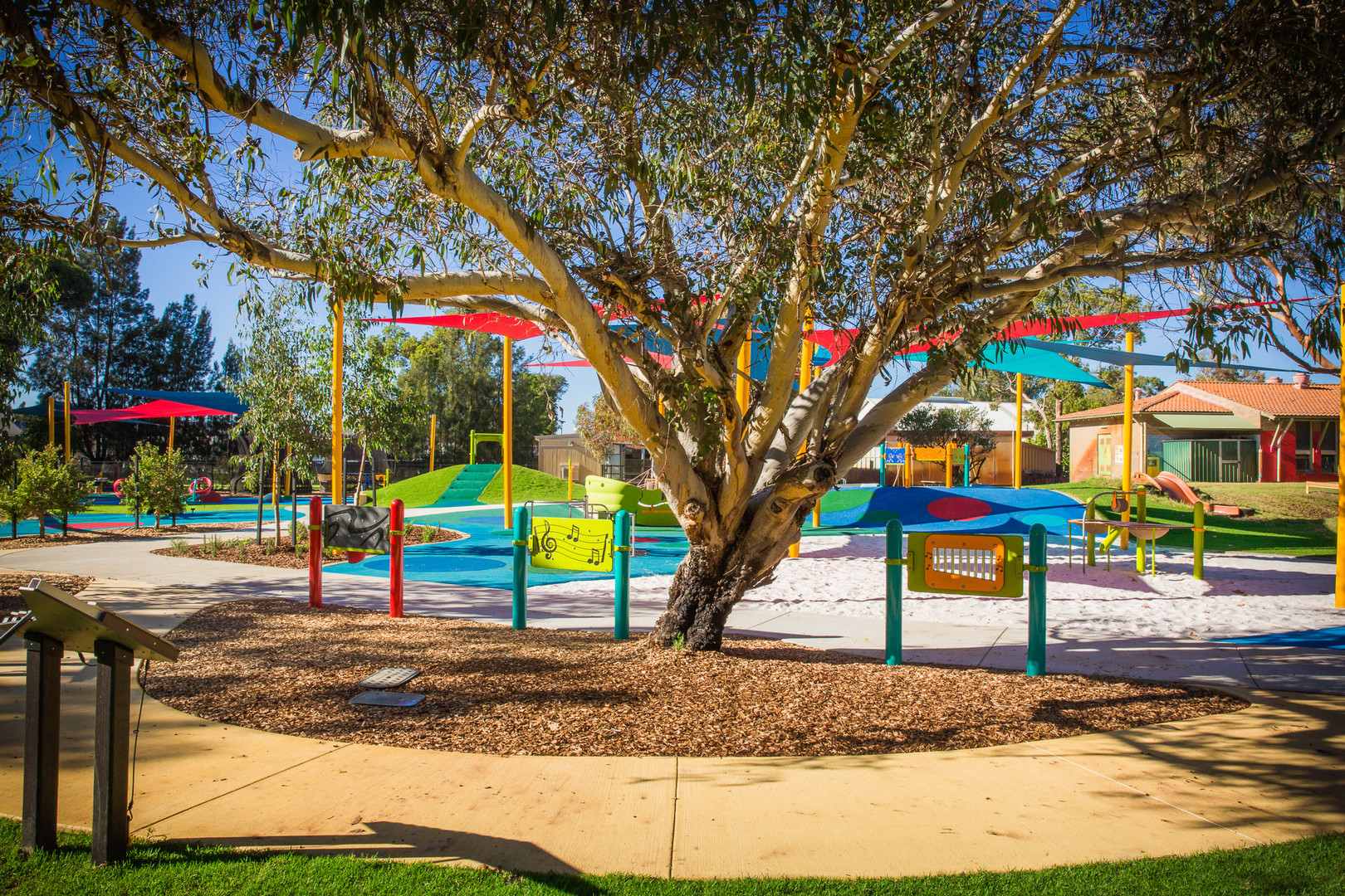 Play for All playground. Kenwick School. Music Equipment. Playground Freestanding Panels. Accessible and Inclusive Play.