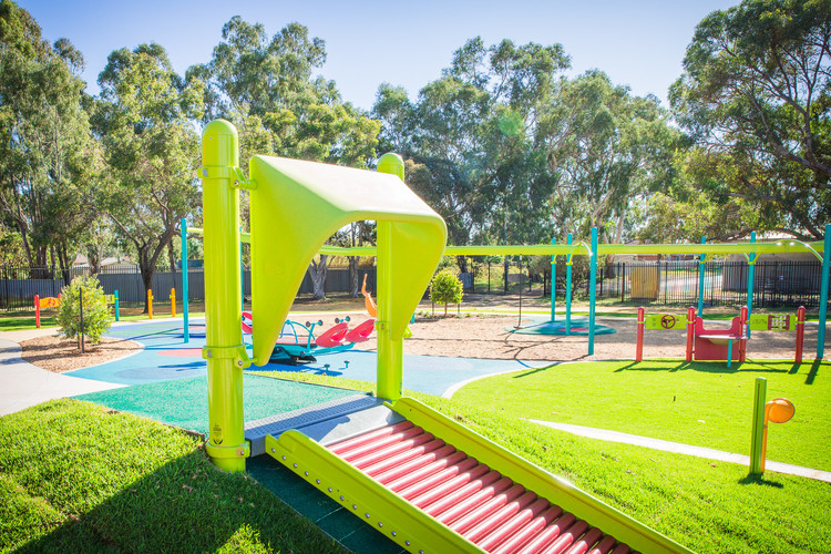 Roller Table in Limon and Red. Playground Design. Perth Western Australia. Kenwick School