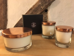 Set of glass bowls with copper lids