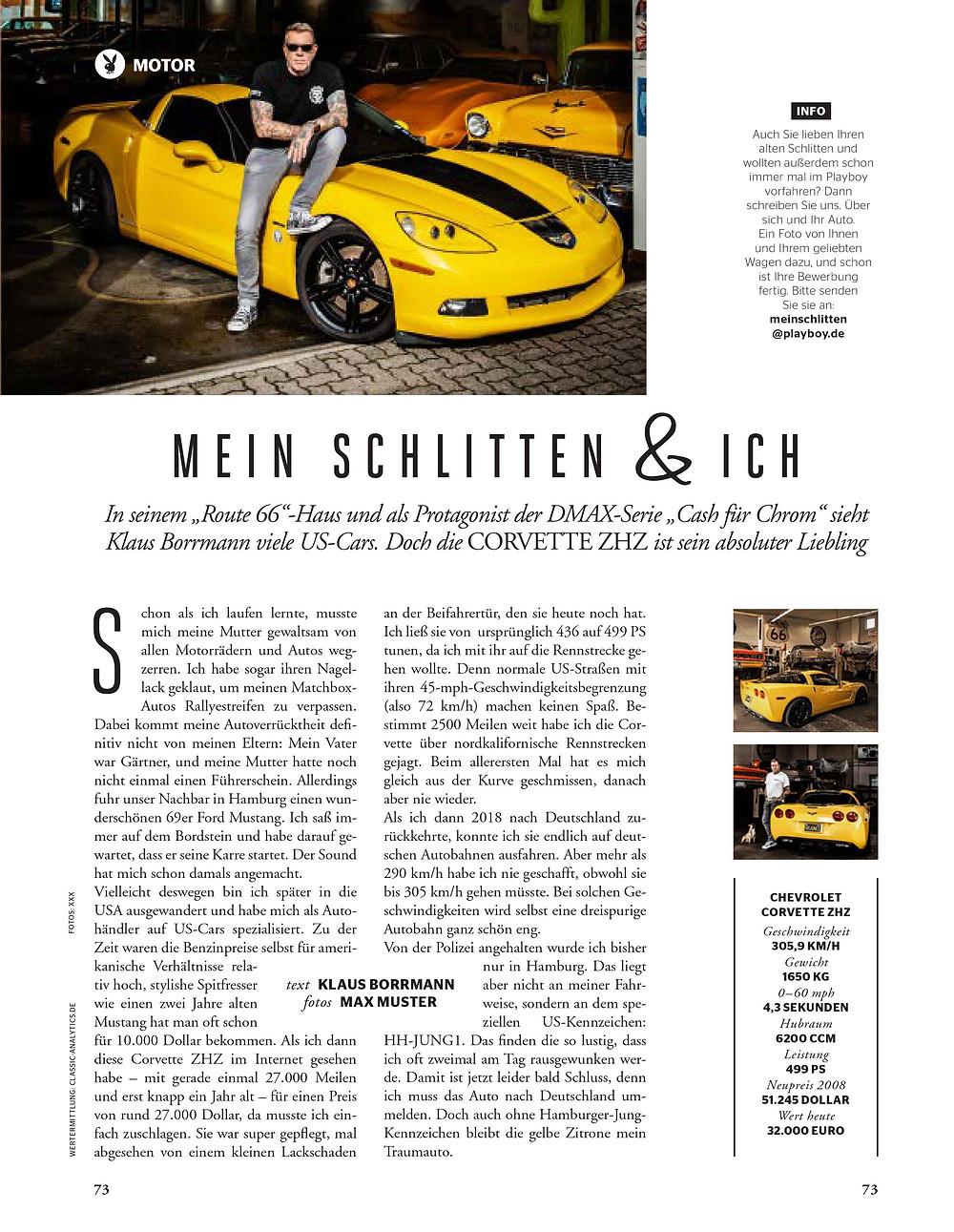 Route66-HH_US-Cars_Klaus Borrmann Cash für Chrom Playboy-Ausgabe
