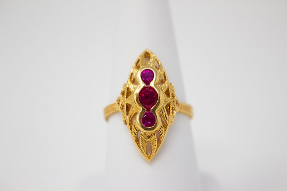 18k Yellow Gold Synthetic Ruby Ring