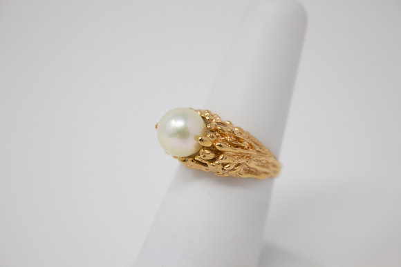 18k Gold Cultured Saltwater Pearl Ring
