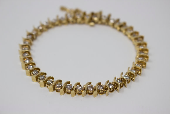 "14k Gold ""S"" Link Diamond Bracelet"
