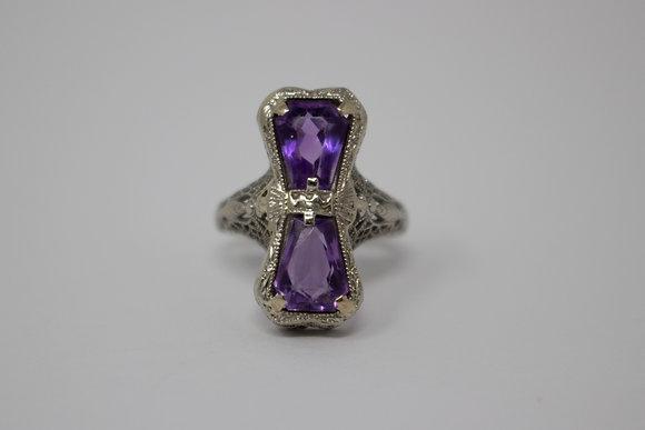 18k White Gold Natural Amethyst Filigree Ring