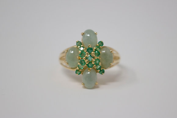 14k Gold Natural Jadeite Jade & Emerald Ring