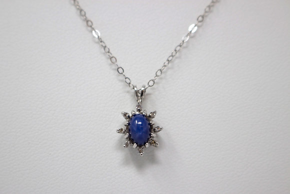 10k White Gold Synthetic Star Sapphire & Diamond Necklace